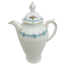 Coalport Geneva Pattern Coffee Pot, Athens Shape, Aqua Color