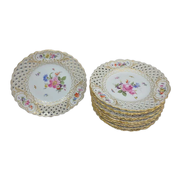 """12 Antique Meissen Reticulated Dinner Plates with Hand Painted Flowers & Insects, 9-5/8"""""""