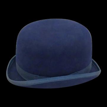 Vintage Beaver Brand Blue 5X Fur Felt Riding Derby Hat, Size 6-3/4