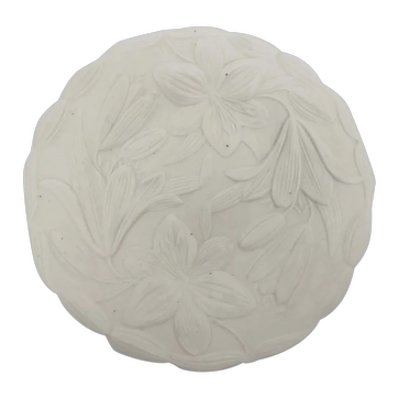 Antique Parian Porcelain Bisque Plate with Raised Embossed Lily Design