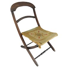 Antique 19th C.  Victorian Child's Folding Campaign Carpet Chair