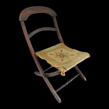 Antique 19th C.  Victorian Child's Folding Campaign Carpet Chair