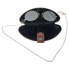 Keonen's Gold Filled Pince Nez Eyeglasses on Chain in Case