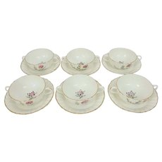 6 Royal Worcester Indian Sprays 22134 Cream Soup Bowls with Saucers