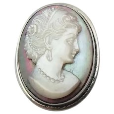 Mother of Pear Carved Shell Cameo Brooch in 800 Silver Setting