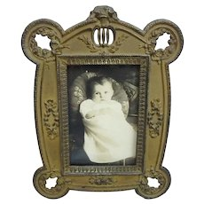 German Arts & Crafts Brass Finished Spelter Table Top Picture Frame