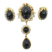 Juliana Black Domed Cab and Rhinestone Dangle Brooch and Earrings Set