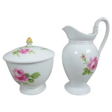 Meissen Covered Sugar Bowl & Creamer in Pink Roses Pattern
