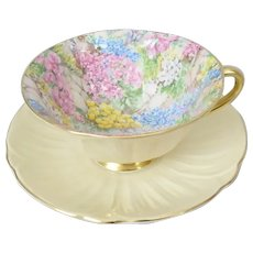 Shelley Bone China Rock Garden Cup and Saucer with Oleander Shape