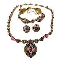 Unsigned Hollycraft  Parure Necklace, Bracelet, Earrings Amethyst, Green Pink Rhinestones