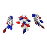 D&E Juliana Patriotic Red White & Blue Crystal Pin & Dangling Earrings