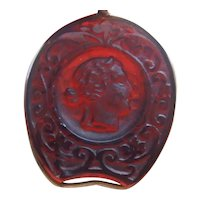Carved Recessed Cameo Watch Fob, Wire Wrapped Translucent Stone