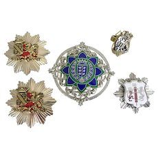 5 British Motif Lion Griffin & Coat of Arms Pins & Ring
