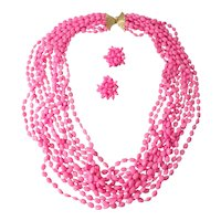 Signed Vogue Jlry Hot Pink Bead Multi Strand Necklace with Cluster Earrings