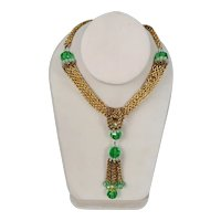Art Deco Brass Multi Cable Chain Necklace with Green Crystal Bead Tassel