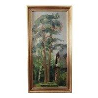 Oil on Art Board Landscape of Tall Trees Near House