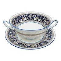 Wedgwood Dark Blue Florentine Bone China Handled Cream Soup Bowl