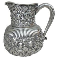 1889 Gorham Repousse  Floral Chased Sterling Silver Pitcher