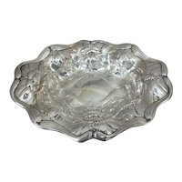 "Gorham Art Nouveau Poppy Chased Sterling Silver Bowl, 9.75""L"