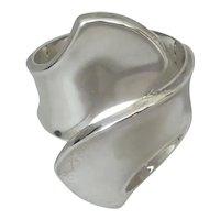 Modernist Sterling Silver Hinged Cuff Bracelet