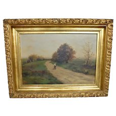 Oil Painting on Canvas Pastoral Landscape Painting in Gilded Rococo Frame
