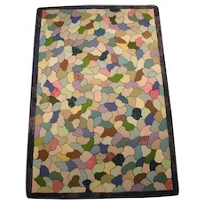 "Unusual  Fish Scale Mosaic Stained Glass Hooked Rug, 52"" by 36"""