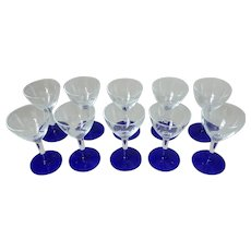 10 Weston Port Wine Glasses with Cobalt Base and Cut Floral Bowl