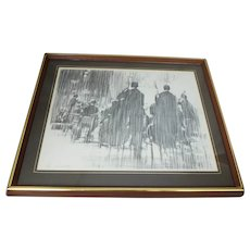 "Signed Edna Glaubman Print of Charcoal Drawing ""In Concert"" #63/100"