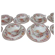8 Chinoiserie Hand Painted Split Handle Cups and Saucers, Early 19th C.