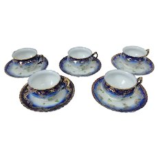 5 Victoria Carlsbad Flow Blue Cups and Saucers with Violets