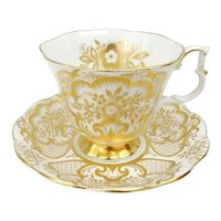 Royal Albert Bone China Cup and Saucer with Heavy Gold Floral Decoration