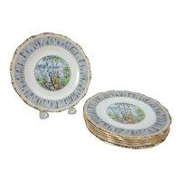 "Six Royal Albert Silver Birch Bone China 6-1/4"" Plates"