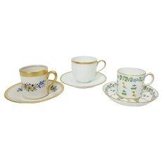 3 Demitasse Cups  and Saucers; Royal Crown Derby, Nippon, Concorde