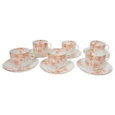 6 Aynsley Roco Orange Cup and Saucer Sets, Victorian Era