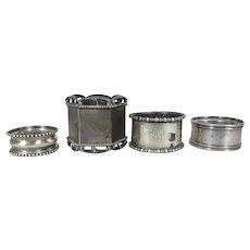 4 Antique Sterling Silver Towle and Webster Napkin Rings