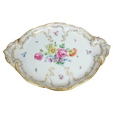 """KPM Berlin Hand Painted Flowers & Insects Platter, 16.5""""L"""