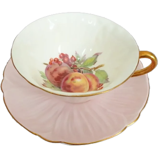 Shelley Peach Oleander Bone China Cup and Saucer with Fruit Interior