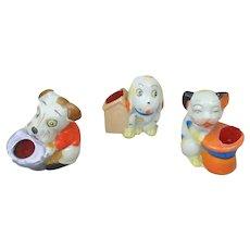 3 Mid-Century Japan Porcelain Figural Dog & Cat Pin Cushions