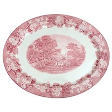"Wood & Sons Woods Ware English Scenery Pink  Transferware 21"" Platter"