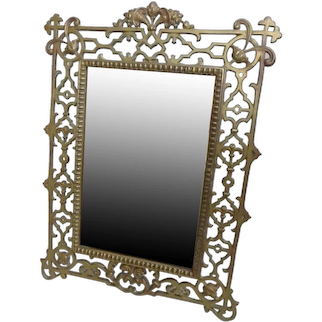 Reticulated Bronze Framed Dressing Mirror Signed William Schaus NY