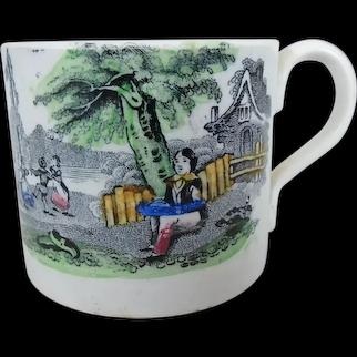 19th C. Staffordshire Transferware Child's Mug with Polychrome May Pole Scene