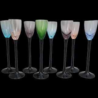 "8 Tall Vintage Multi-Color Black Stem Cordial Liqueur Glasses 7"" H"