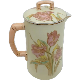 Antique European Porcelain Coffee or Chocolate Pot with Pink Tulips