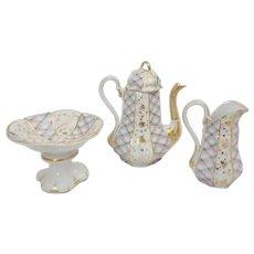 Unusual Victorian Demitasse Coffee Set with Pot, Creamer, and Pedestal Sugar Bowl