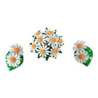 MCM Raised Micro Daisy Puffy Pin & Earrings Painted Metal Set