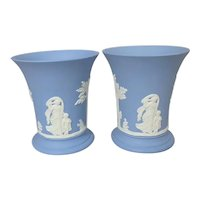 Pair of Wedgwood Blue Jasperware Vases with Neoclassical Women and Children