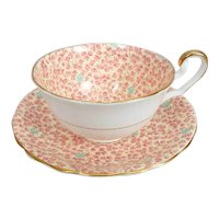 Victoria C&E Chintz Bone China Cup and Saucer with Leaf & Blue Flower #374