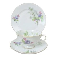 PMR Jaeger & Co Bavaria Porcelain Lilac Plate, Cup & Saucer Trio