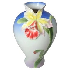 """Tall Signed Franz Porcelain Cattleya Lily Orchid Vase; FZ00283; 13""""H"""