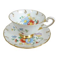 Vintage Tuscan Bone China Hand Painted Floral Cup and Saucer, C8945